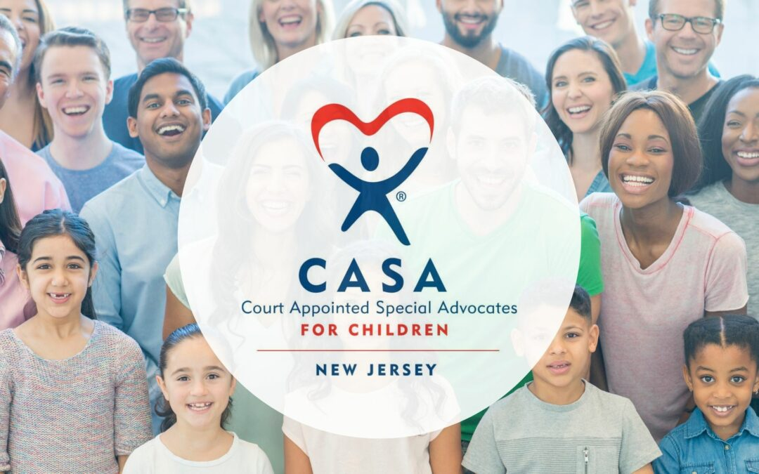 CASA NJ logo over a group of smiling adults and children.
